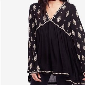 NWT Free People Diamond Embroidered top